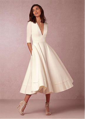 [131.99] Fabulous Taffeta & Satin V-neck Neckline A-line Wedding Dresses