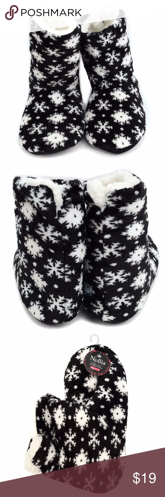"""Winter Snowflake Slippers Faux Fur Non-Slip Bottom Winter Snowflake Slippers Faux Fur Non-Slip Bottom Holiday Winter Gift  The slipper is perfect to keep your feet warm! The inside is entirely lined with super soft faux fur. Can be worn to cover your ankles or folded down!  Perfect for everyday wear or as a gift  Fuzzy exterior, Ultra soft fleecy interior lining, Beaded rubber bottoms for non-slip grip  S fits: ladies shoe size 5-6 Bottom Size : 9.5"""" M fits: ladies shoe size 7-8 Bottom Size…"""