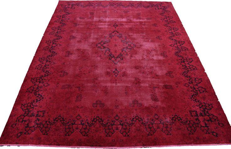 Orient Teppich Vintage modern rot Used Look 390x300 handgeknüpft edel 167056  | eBay