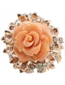 Ring in rose gold, diamonds, sapphires and coral.
