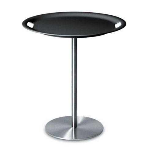 "Alessi Op-la Table with Removing Tray, Dark Grey by Alessi. $430.00. Tray/table, base in stainless steel, top and tray in ABS. Approximate size: 19"" X H.20.5"". Vassoio/tavolino, base in acciaio inossidabile, piano e vassoio in ABS, white. Designed by Jasper Morrison. Interactivity, solutions for two objects which can be brought together: ""Op"" is a tray; ""Op-la"" turns into a table-tray with a stainless steel base."