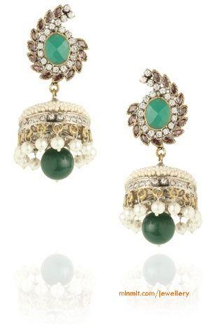diamond-emerald-jhumkas