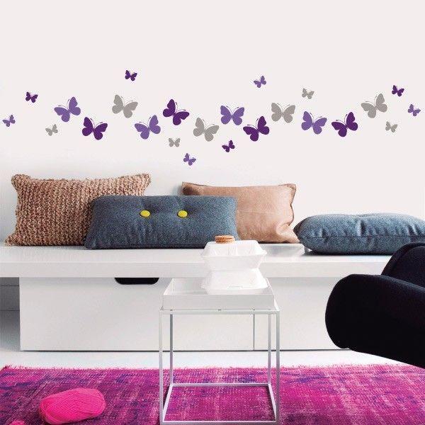 My vinilo. vinilos decorativos. decoración de pared. papel tapiz. Decohunter. Floral. mariposas de colores