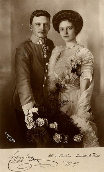 "tiny-librarian: "" Official engagement photo of the future Charles I and Empress Zita. Source """