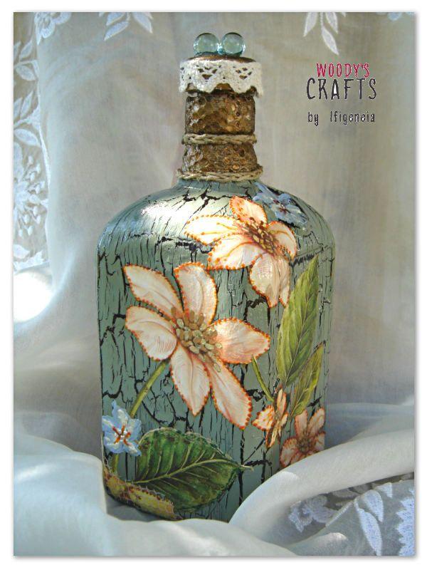 Χειροποίητο γυάλινο μπουκάλι | Decoupage Art | Woody's Crafts by Ifigeneia