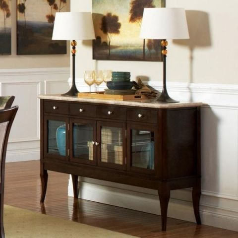 Marble Top Side Board In A Cherry Wood Finish 547 Ffo Home