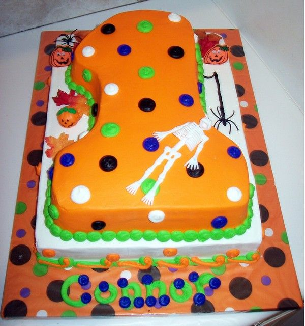 fall1stbirthdaypartyideas 1st birthday fallhalloween - Halloween Decorations Cakes
