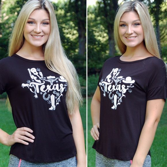 "NWT All Things Texas Black Box Style Graphic Tee For all the girls who just can't get enough of Texas! It's so comfortable and in our ""box"" style top! Model is wearing size small! Completely made in the USA! 🇺🇸 Paperback Boutique Tops Tees - Short Sleeve"