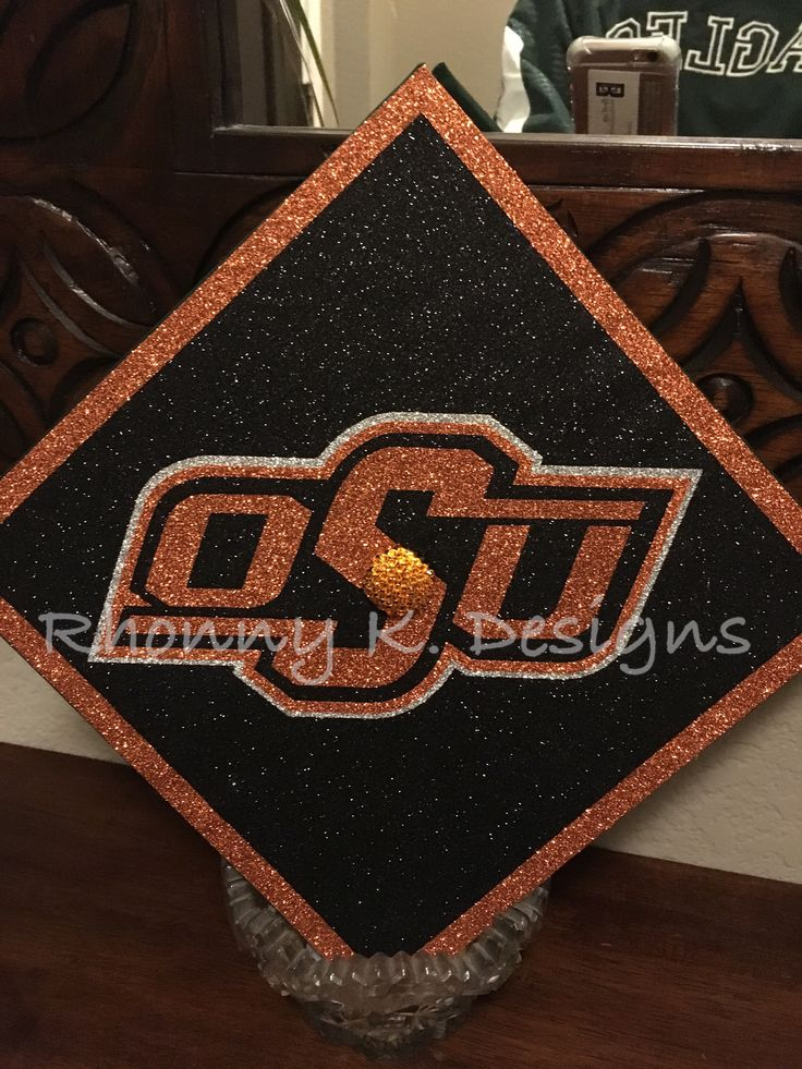 Oklahoma State University custom decorated Mortarboard by Rhonny K. Designs. Mortarboard, graduation cap, OSU, Pokes, Stillwater,  Rhonnyk.com  Facebook:  Rhonny K. Designs