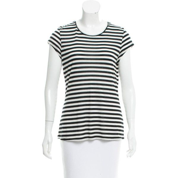 Pre-owned L'Agence Striped Cap Sleeve T-Shirt ($50) ❤ liked on Polyvore featuring tops, t-shirts, neutrals, crewneck tee, striped t shirt, white tees, cap sleeve t shirt and white t shirt