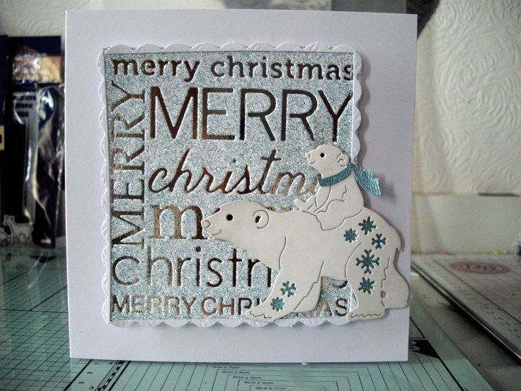 Christmas Card Tattered Lace polar bear and baby.
