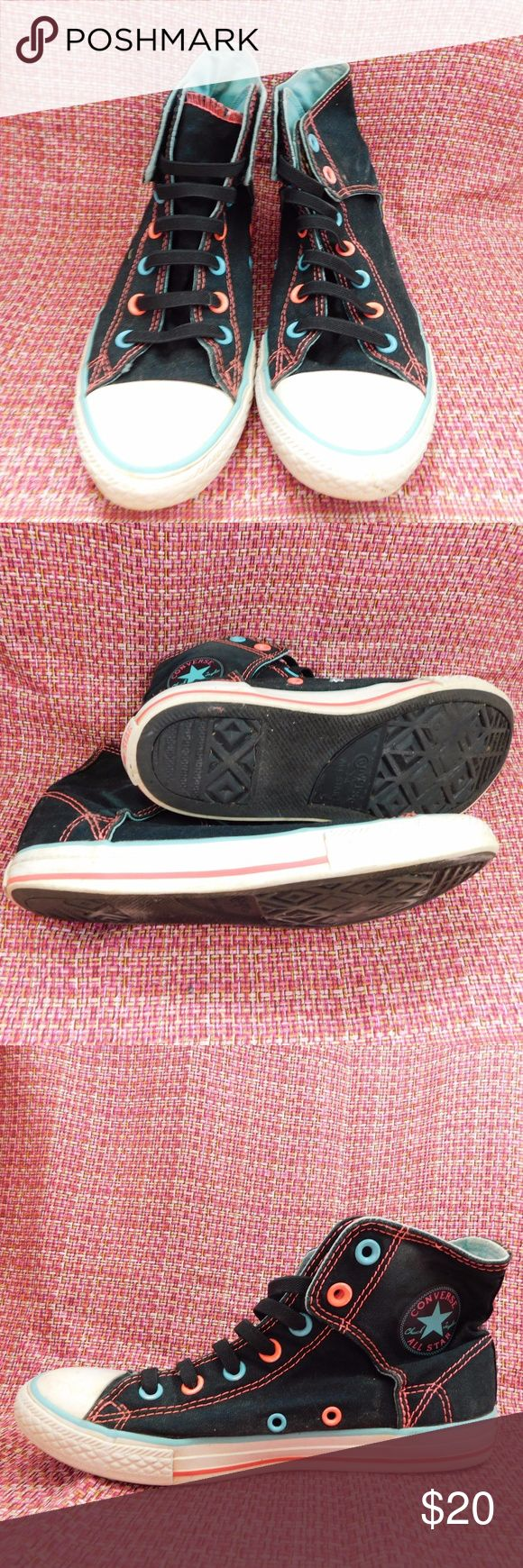 Blue and Pink Neon Converse Black and blue, pink neon converse. In good condition with some wear on the sides. Converse Shoes Athletic Shoes