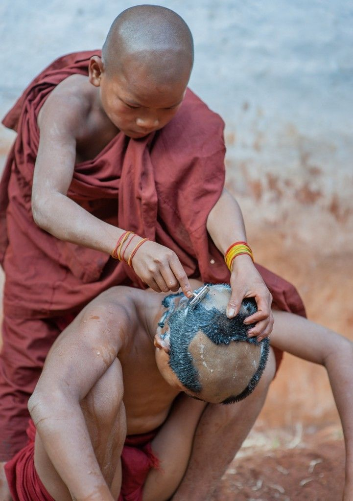 Children spending time at a Buddhist monastery in Myanmar