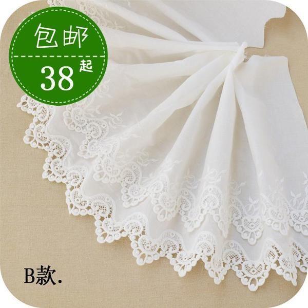 米白色纯棉布立体刺绣超宽蕾丝花边裙边裙摆花边手工DIY辅料最爱