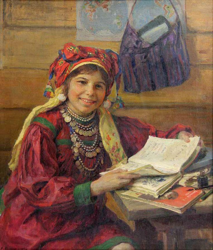 """Schoolgirl student"" 1934. Ф.В.Сычков (Soviet artist)"