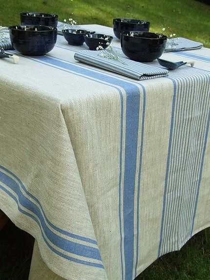 Blue Linen Provence Tablecloth Blue Stripes Over Natural Grey Colour Shade  Backround. This Wonderful Mix Of Blue And Natural Linen Colours Produces A  ...