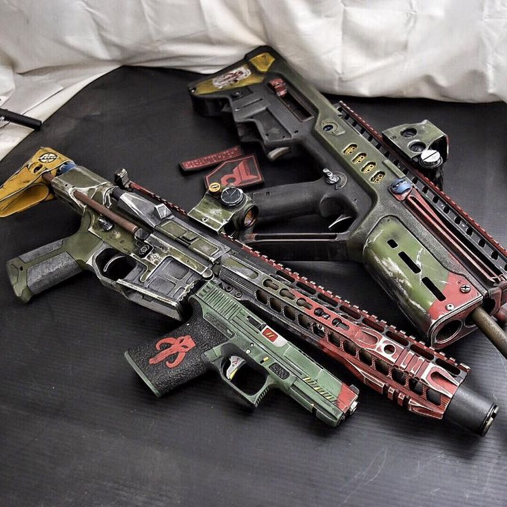 Boba Fett AR, Tavor and Glock. // Okay, I don't usually like over-the-top paint jobs on a gun, but this is actually Badass!