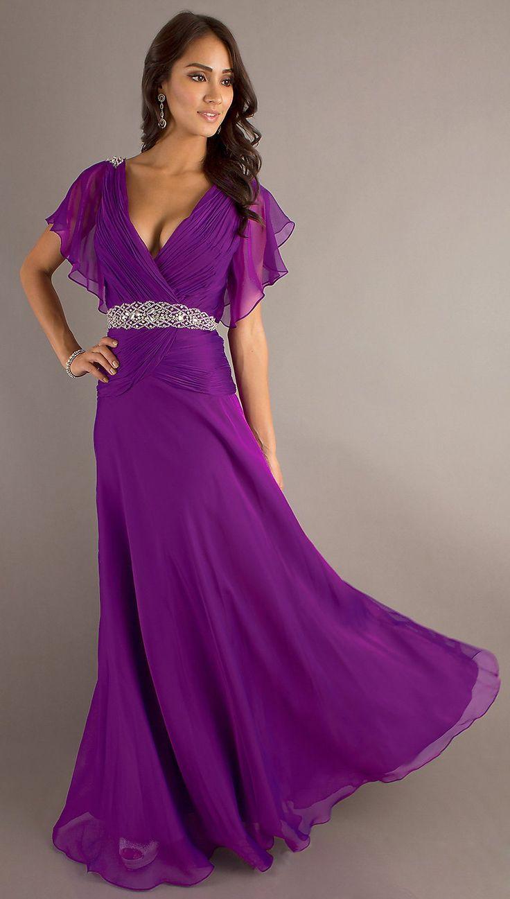 Modest Long Purple Formal Gown V Neckline Short Sleeve