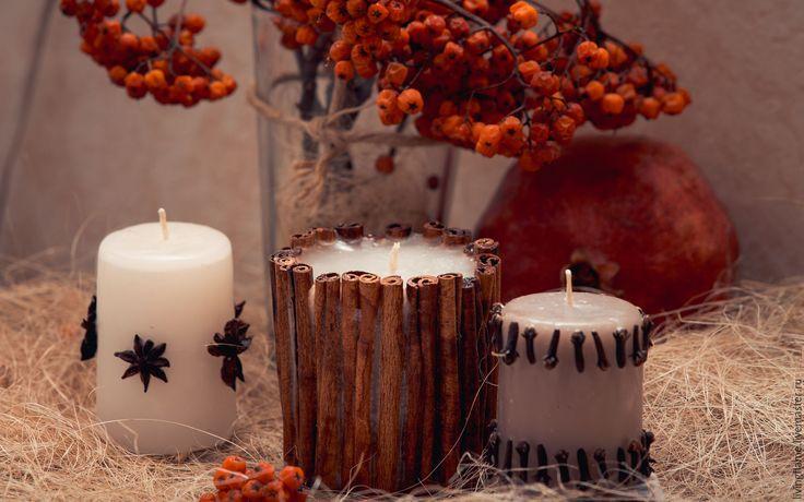 """Купить """"Пряная горчица"""" набор свечей - белый, Свечи, свечи ручной работы, свечи для интерьера"""