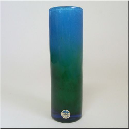 Ekenas Glasbruk Swedish blue + green glass vase, designed by John-Orwar Lake, signed to base + labelled.
