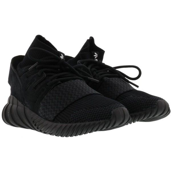 Adidas Tubular Doom Pk Sneakers ($135) ❤ liked on Polyvore featuring shoes, sneakers, black, adidas footwear, adidas shoes, adidas trainers, black trainers and adidas sneakers