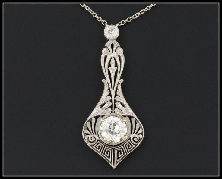 Antique Edwardian Necklace | Platinum and 1.39ctw Diamond Necklace | Antique Diamond Necklace | Antique Bridal Necklace | Filigree Necklace