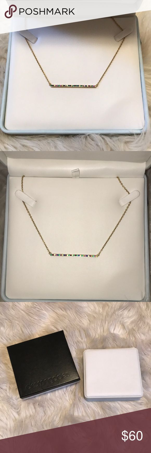 Elizabeth & James Jeweled Bar Necklace Worn twice. Excellent condition. Comes with jewelry box and gift box as seen in the photo. Beautiful gold bar with multi colored stones. Elizabeth and James Jewelry Necklaces