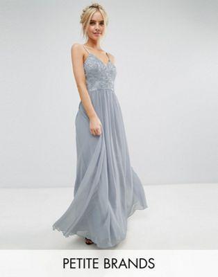 Chi Chi London Petite Cami Strap Maxi Dress with Premium Lace