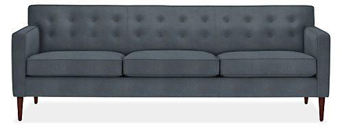 Holmes Custom Sofa Room & Board  89wx35d, $2500 fabric vineyard slate poly velvet