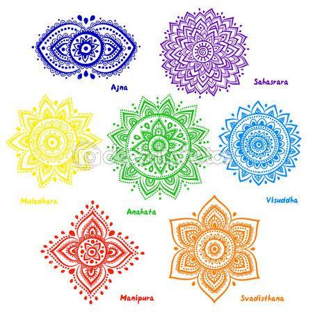 geïsoleerde reeks van prachtige decoratieve 7 chakra 's — Stockillustratie #41883963