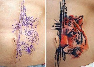 Demasiadas conexiones | Tatuagem para cobrir cicatrizes, Tatuagem sobre cicatriz, Tatuagem barriga