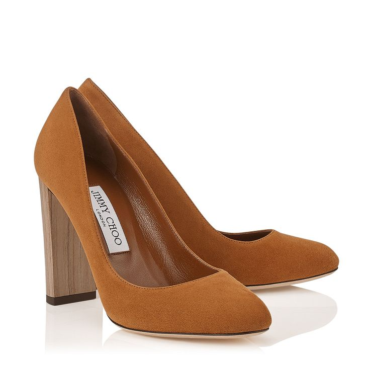 Jimmy Choo 'Laria'  Canyon Suede Round Toe Natural Wooden Block heel Pumps