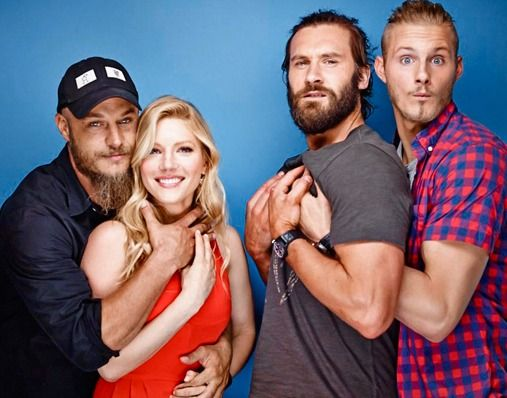 Ha-ha, silly actors and actress...Vikings cast Travis Fimmel , Katheryn Winnick, Clive Standen & Alexander Ludwig.