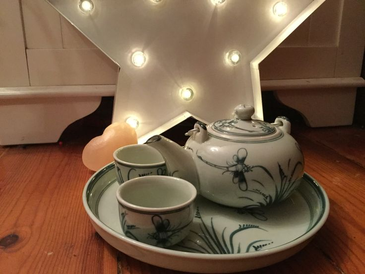 Tea pot with plate and cups from Vietnam, star light and love heart Himalayan salt rock.
