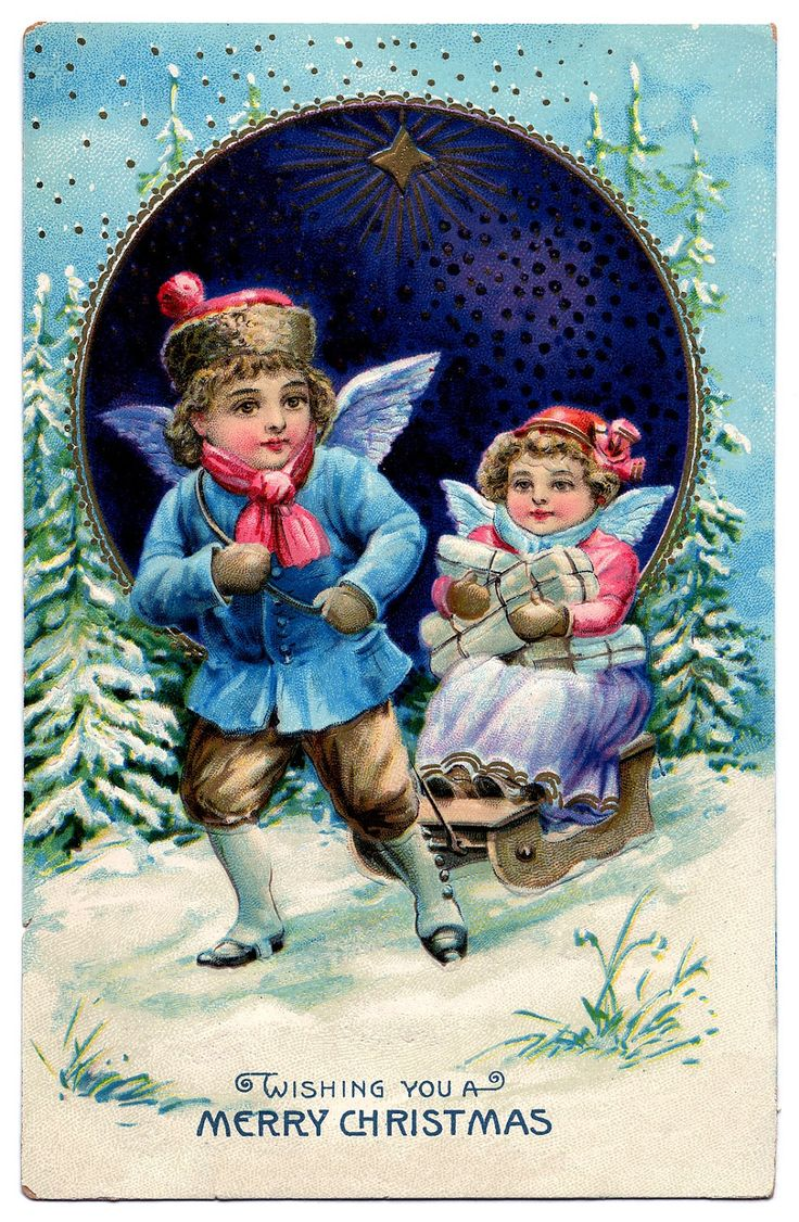 Victorian Christmas Graphic - Angel Children with Sled - The Graphics Fairy