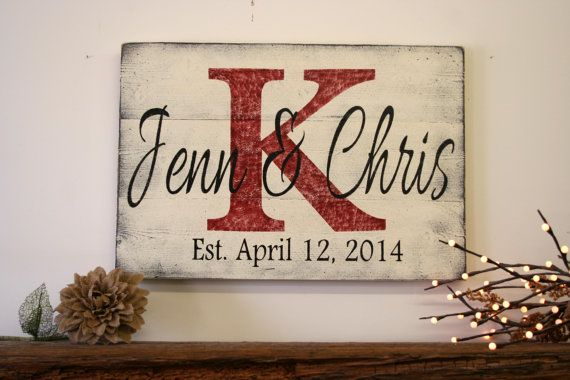 Personalized Name Sign Custom Name Sign Wedding Gift Bridal Shower Gift Wood Pallet Sign Distressed Wood Sign Monogram Established Date Sign...