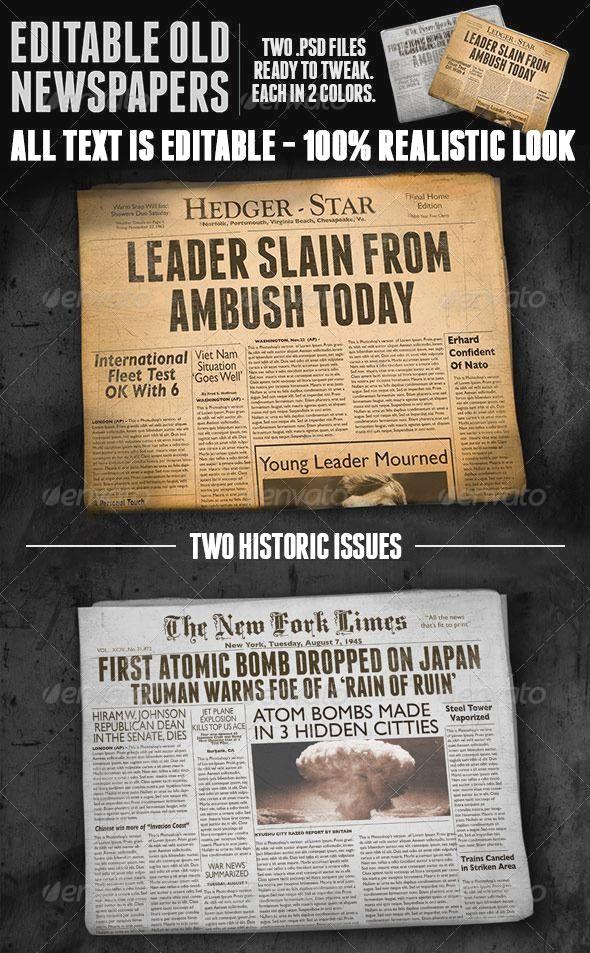Two Vintage Folded Newspaper Mockups Print Mockup Vintage Newspaper Mockup