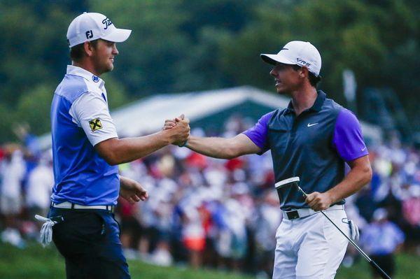 Lange Zeit ebenbürtig mit Flightpartner und Golf-Star Rory McIlroy (re.): Bernd Wiesberger / Bild: (c) APA/EPA/TANNEN MAURY