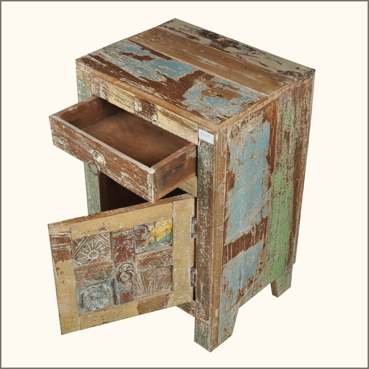 Decorating With Distressed Furniture: Rustic Distressed Teak Wood Bedside End Table Storage