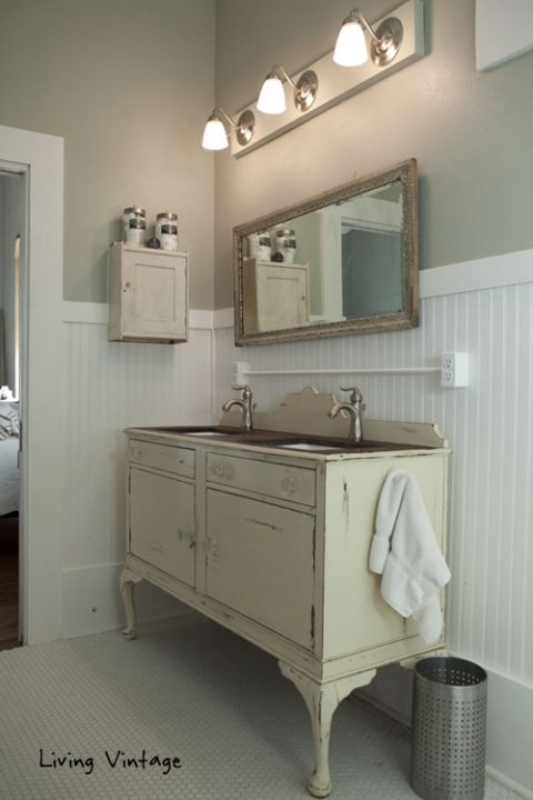 Custom Bathroom Vanity - made from a repurposed buffet - via Living Vintage