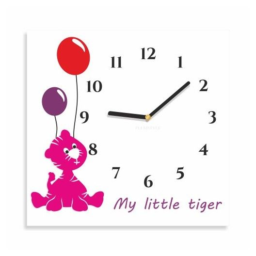 Stvorcove hodiny na stenu s tigrikom