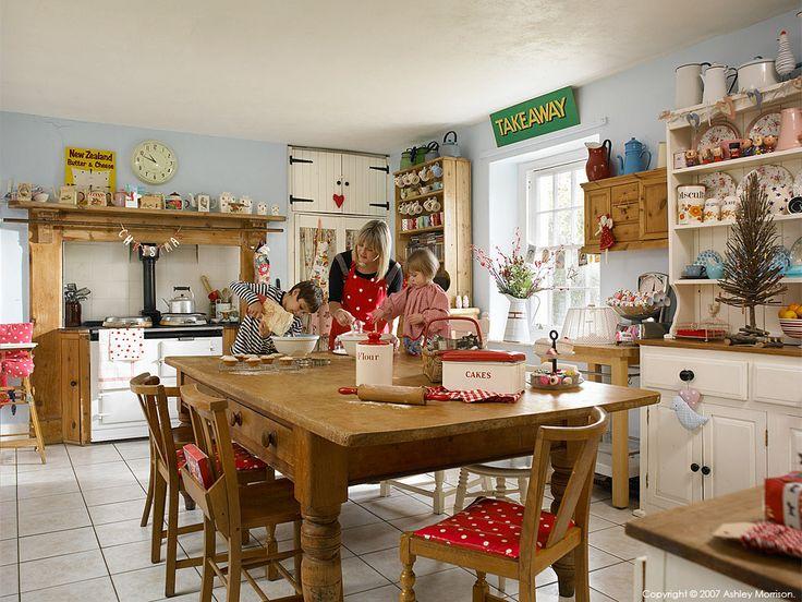 The kitchen in Donna & Paul Flower's farmhouse located near Bideford in Devon.