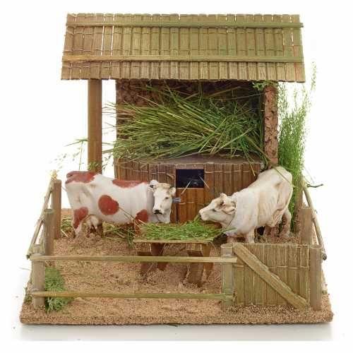 Kühe im Stall bewegliche Krippenszene | Online Verfauf auf HOLYART
