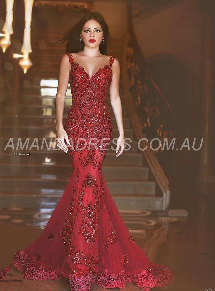 amandadress.com.au SUPPLIES 2016 New Arabic Backless Mermaid Evening Dresses Sequins Sweetheart Lace Applique Formal Cheap Evening Gowns Red Formal Dresses