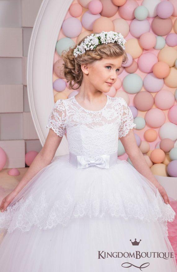 White Lace Flower Girl Dress Birthday от KingdomBoutiqueUA