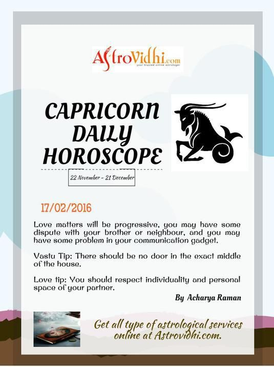 Get your Capricorn Daily Horoscope (17/02/2016). Read your daily Horoscope online Hindi/English at AstroVidhi.com