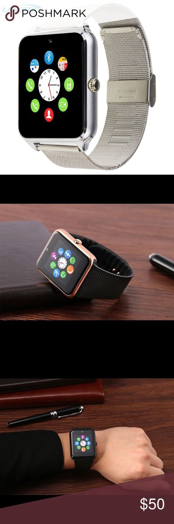 Android or Apple OS Smart Watch Brand New!  Langtek Z60 Smart Watch Android Watch With Push Message Support SIM SD Card Mp3 Fashion Bluetooth Wearable Devices For Apple IOS Specifics Functions: Answer Call,Big Three Needles,Week,Tourbillon,Noctilucent,Month,Moisture Measurement,Phase of the Moon,Message Reminder,Mood Tracker,Sleep Tracker,Call Reminder,Passometer,Thermometer,24 hour instruction,World Time,Fitness Tracker. Size is 1.5in diameter silver metal band Accessories Watches