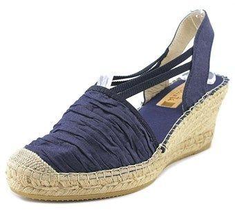 Vidorreta Valenciana Elasticos Ribe Women Open Toe Denim Blue Wedge Heel.