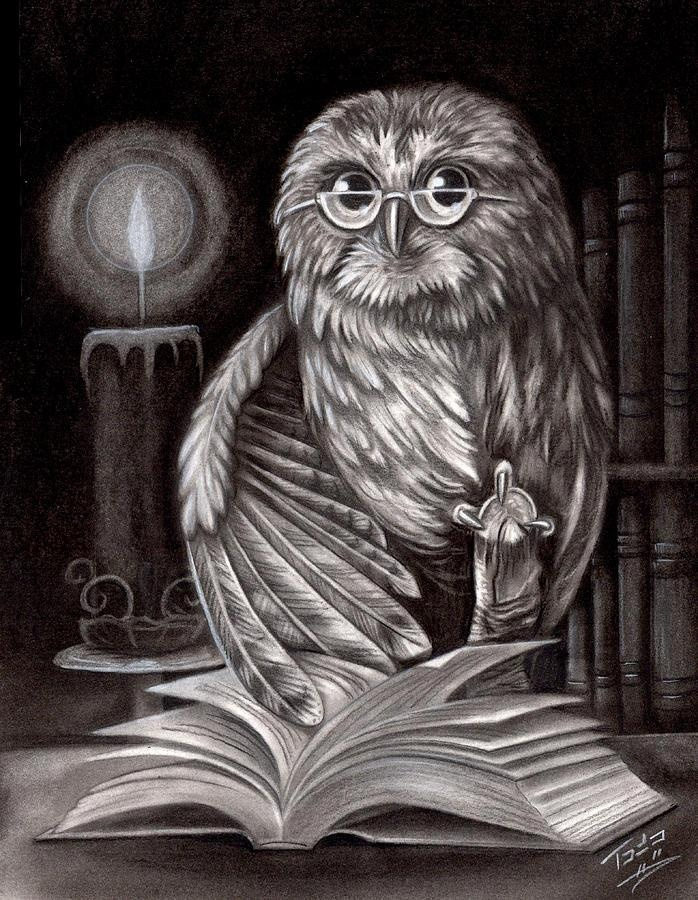 OWL & BOOK drawing © Todo BRENNAN Artist  via Fine Art Print. Prints starting at $17.00 ...     A book has got smell. A new book smells great. An old book smells even better. An old book smells like ancient Egypt.~  Ray Bradbury