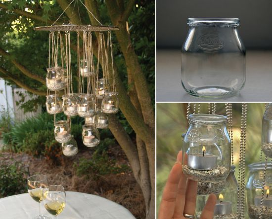 Glass Jar Chandelier - great for the garden
